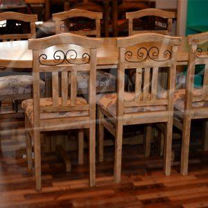 Juego de comedor 6 sillas patinado extensible