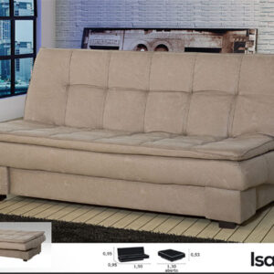 Ideal sofa cama en tela gris claro