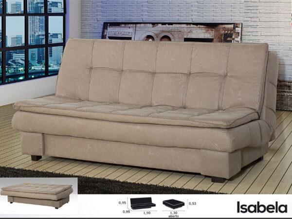 Ideal sofa cama en tela gris claro